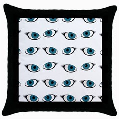 Blue Eyes Pattern Throw Pillow Case (black) by Valentinaart