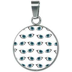 Blue Eyes Pattern 20mm Round Necklace by Valentinaart
