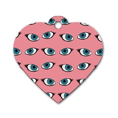 Blue Eyes Pattern Dog Tag Heart (two Sides)