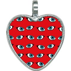 Blue Eyes Pattern Heart Necklace by Valentinaart