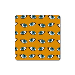 Blue Eyes Pattern Square Magnet by Valentinaart