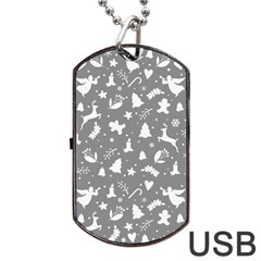 Christmas Pattern Dog Tag Usb Flash (two Sides) by Valentinaart