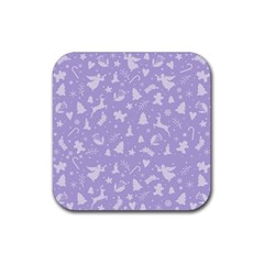 Christmas Pattern Rubber Coaster (square)  by Valentinaart