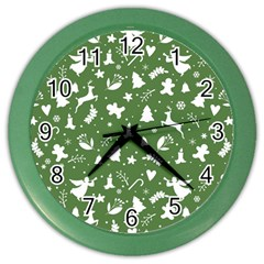 Christmas Pattern Color Wall Clock by Valentinaart
