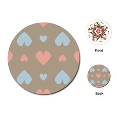 Hearts Heart Love Romantic Brown Playing Cards (round) by Sapixe
