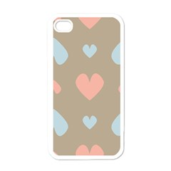 Hearts Heart Love Romantic Brown Apple Iphone 4 Case (white)