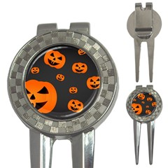 Halloween Pumpkin Autumn Fall 3 In 1 Golf Divots by Sapixe