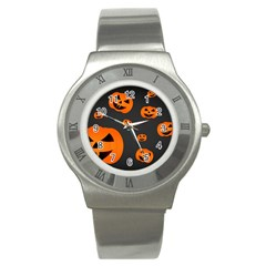 Halloween Pumpkin Autumn Fall Stainless Steel Watch by Sapixe