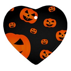 Halloween Pumpkin Autumn Fall Heart Ornament (two Sides) by Sapixe