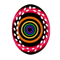 Neon Light Abstract Pattern Lines Ornament (oval Filigree)