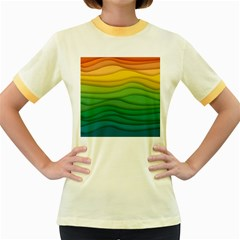 Background Waves Wave Texture Women s Fitted Ringer T-shirt