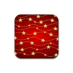 Stars Background Christmas Decoration Rubber Coaster (square)