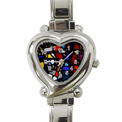 Art Bright Lead Glass Pattern Heart Italian Charm Watch