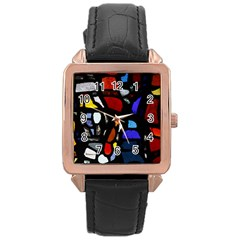 Art Bright Lead Glass Pattern Rose Gold Leather Watch