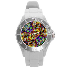 Color Mosaic Background Wall Round Plastic Sport Watch (l) by Sapixe