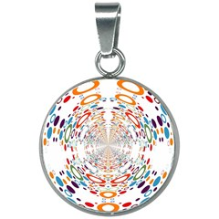 Wallpaper Pattern Colorful Color 20mm Round Necklace by Sapixe