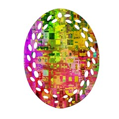 Color Abstract Artifact Pixel Ornament (oval Filigree)