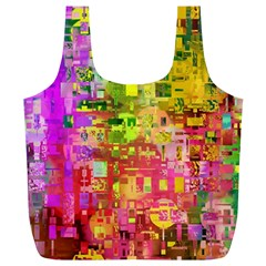Color Abstract Artifact Pixel Full Print Recycle Bag (xl)
