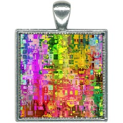 Color Abstract Artifact Pixel Square Necklace