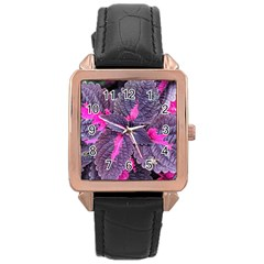 Beefsteak Plant Perilla Frutescens Rose Gold Leather Watch