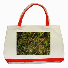 Peacock Feathers Color Plumage Green Classic Tote Bag (red)