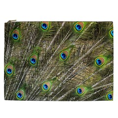 Peacock Feathers Color Plumage Green Cosmetic Bag (xxl)