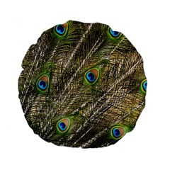 Peacock Feathers Color Plumage Green Standard 15  Premium Flano Round Cushions by Sapixe