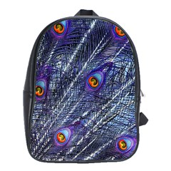 Peacock Feathers Color Plumage Blue School Bag (large)