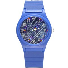 Peacock Feathers Color Plumage Blue Round Plastic Sport Watch (s) by Sapixe