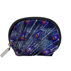 Peacock Feathers Color Plumage Blue Accessory Pouch (small) by Sapixe