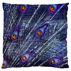 Peacock Feathers Color Plumage Blue Large Flano Cushion Case (one Side)
