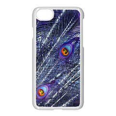 Peacock Feathers Color Plumage Blue Apple Iphone 8 Seamless Case (white) by Sapixe