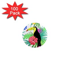 Leaves Tropical Nature Green Plant 1  Mini Magnets (100 Pack)