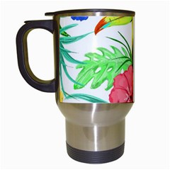 Leaves Tropical Nature Green Plant Travel Mugs (white) by Sapixe