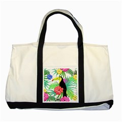 Leaves Tropical Nature Green Plant Two Tone Tote Bag
