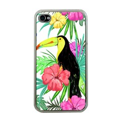 Leaves Tropical Nature Green Plant Apple Iphone 4 Case (clear)