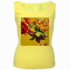Textile Printing Flower Rose Cover Women s Yellow Tank Top