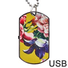 Textile Printing Flower Rose Cover Dog Tag Usb Flash (one Side) by Sapixe