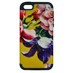 Textile Printing Flower Rose Cover Apple Iphone 5 Hardshell Case (pc+silicone) by Sapixe