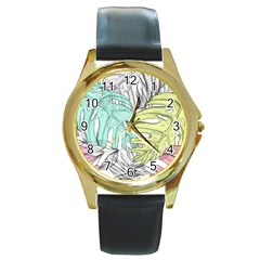 Leaves Tropical Nature Plant Round Gold Metal Watch