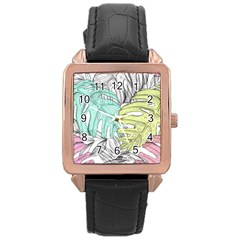 Leaves Tropical Nature Plant Rose Gold Leather Watch