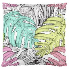 Leaves Tropical Nature Plant Large Flano Cushion Case (one Side)