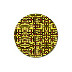 Red Black Yellow Magnet 3  (round) by ArtworkByPatrick