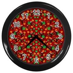 Christmas Time With Santas Helpers Wall Clock (black) by pepitasart