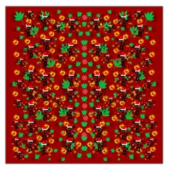 Christmas Time With Santas Helpers Large Satin Scarf (square) by pepitasart