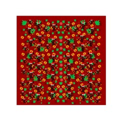 Christmas Time With Santas Helpers Small Satin Scarf (square) by pepitasart