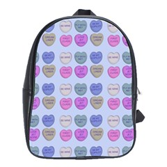 Valentine Hearts Blue School Bag (large)