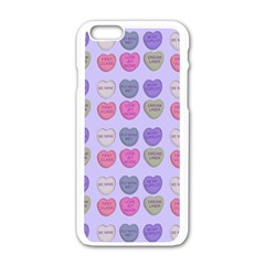 Valentine Hearts Lilac Apple Iphone 6/6s White Enamel Case by snowwhitegirl