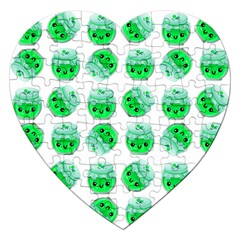 Kawaii Lime Jam Jar Pattern Jigsaw Puzzle (heart) by snowwhitegirl