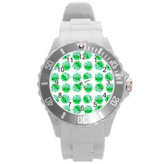 Kawaii Lime Jam Jar Pattern Round Plastic Sport Watch (l) by snowwhitegirl